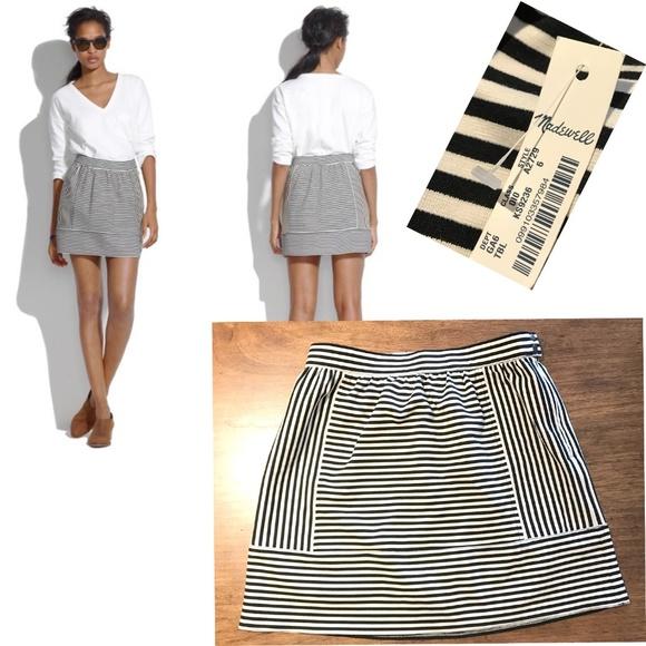 566a3f18f6 Madewell Skirts | Striped Aline Mini Skirt Stretch Knit | Poshmark